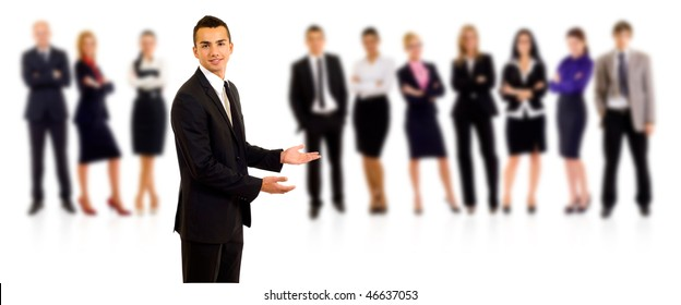 businessman welcoming to his team over white background