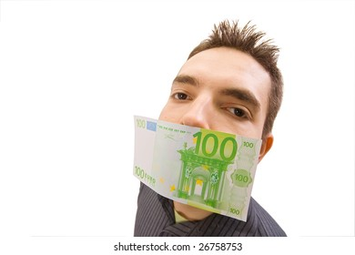 The businessman which mouth is gagged with money