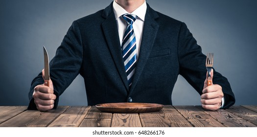 businessman while eating