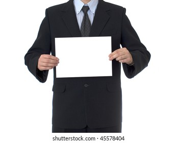 BUSINESSMAN  WITH WHITE CARD on white isolated background