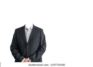 Businessman in white shirt and black suit. Isolated template without head. White background with copy space for text.