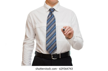 businessman in white shirt with a marker in hand