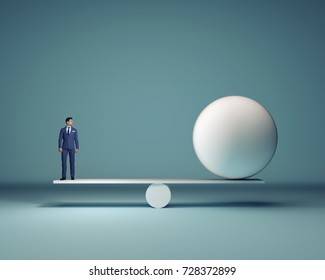 Businessman and a white sphere sitting in balance - 3d render