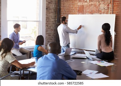Businessman At Whiteboard In Brainstorming Meeting