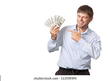 Businessman.Man winks and indicate to money