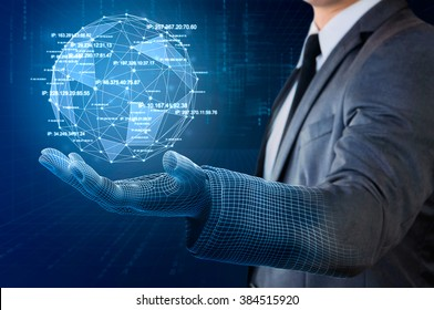 businessman with wire frame hand holding glow network structure