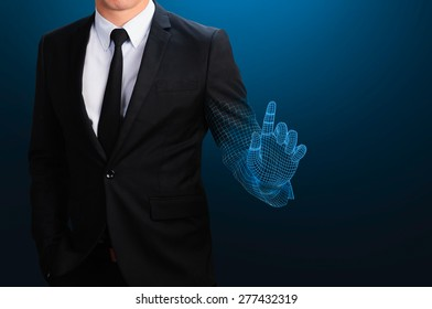 businessman with wireframe hand pointing on blank space