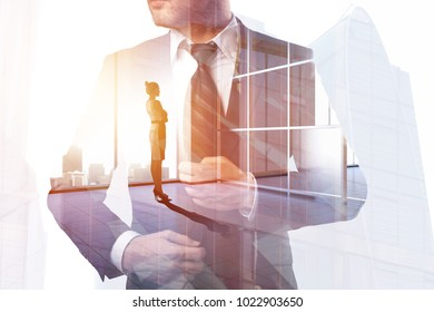 Businessman and woman on abstract office city workplace background. Success and partnership concept. Double exposure