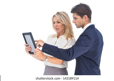 Businessman and woman pointing something on digital tablet on white background