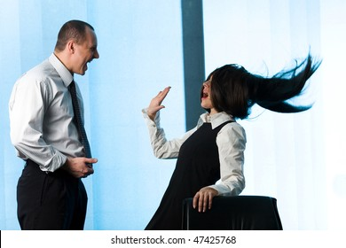 Businessman and women with long hair