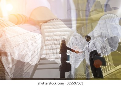 Businessman and women shake hand outdoor for new job of business agreement