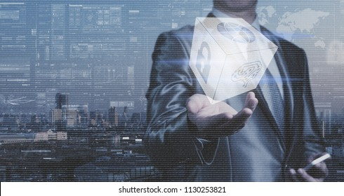 Businessman work with block of binary numeral system of AI, Network Security and globalization system