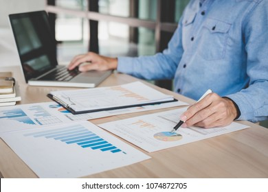 Businessman working analysis finance with calculate about cost on investment, planning data on document, business strategy and accounting concept.