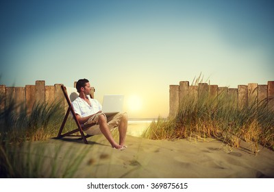 Businessman Working Beach Summer Vacation Travel Concept