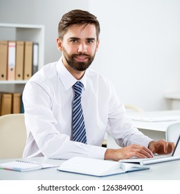 Businessman working with computer in an office