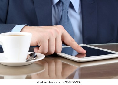 Businessman  working with a digital table in the office