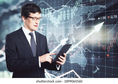 Businessman working with digital tablet on a financial chart with up arrows and world map background, double exposure, global business concept