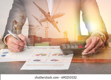 businessman working with document and calculator, Container Cargo ship, Cargo plane and airplane at sunset as business, Calculation, industrial, transportation, analysis and import export concept.