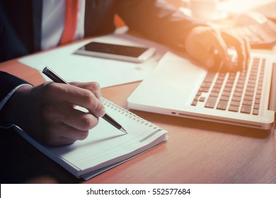 Businessman working with documents.