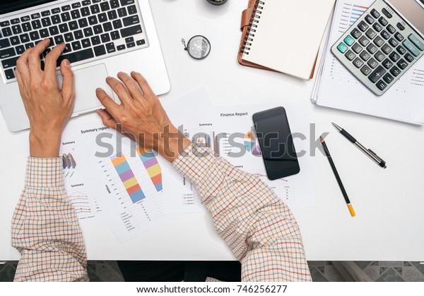 Businessman working with financial data on laptop computer.Business analysis and strategy concept.