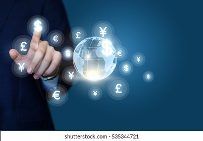 Businessman working in the global financial market.