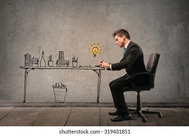 Businessman working at his desk