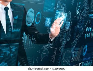 businessman working with hitech technology screen