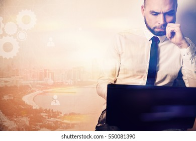 Businessman working laptop