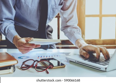Businessman Working Laptop Connecting Networking Concept