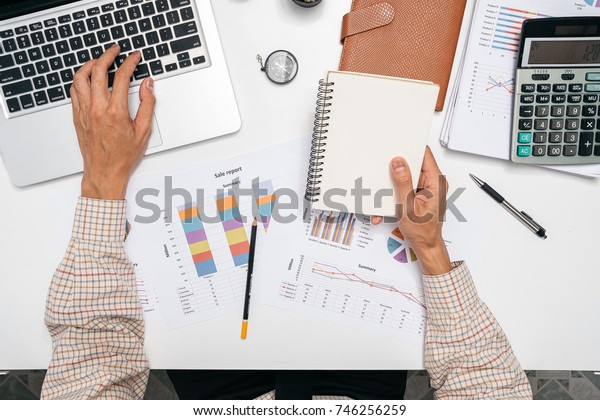 Businessman Working Laptop Connecting Networking Concept.Top view