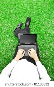 Businessman  Working with laptop in the field