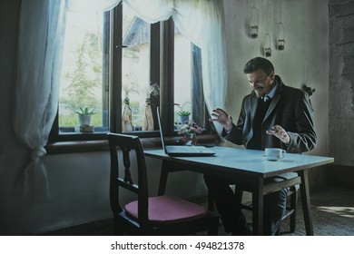 Businessman Working and Making Plans About Project in Old interior Room