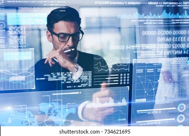 Businessman working with modern interface