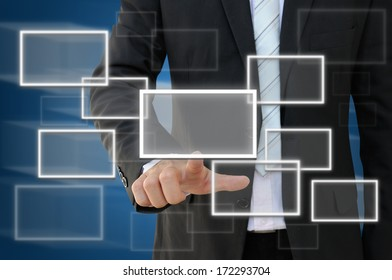 Businessman working with modern virtual technology