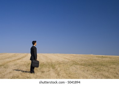 a businessman working in the nature