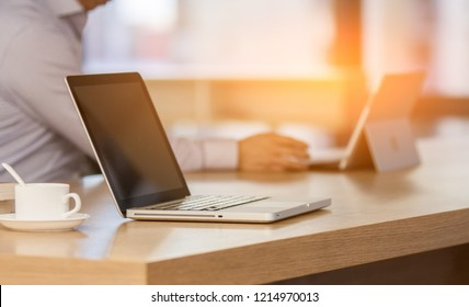 Businessman is working with notebook
