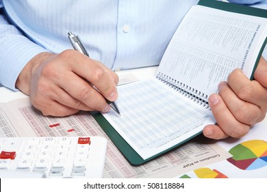 Businessman working with notebook in the office