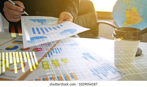 Businessman working in the office. analysis financial diagram, Business report graphs