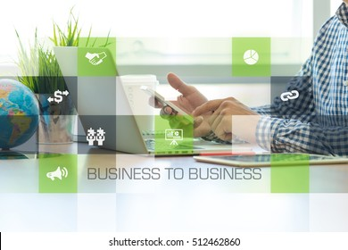 Businessman working in office and B2B icons concept