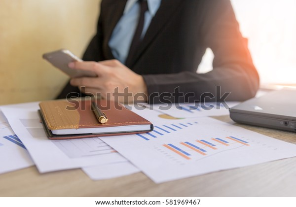 Businessman working at office, Concept business and finance