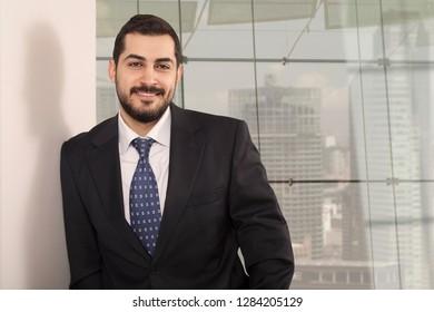 businessman working at office desk