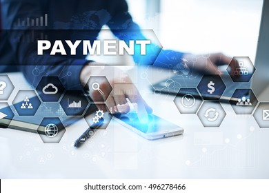 Businessman is working in office, pressing button on virtual screen and selecting payment