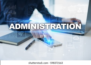 Businessman working in office, pressing button on virtual screen and selecting administration.