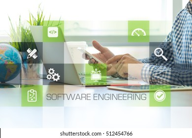 Businessman working in office and Software Engineering icons concept