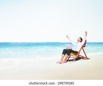 Businessman Working on the Beach Alone Concept