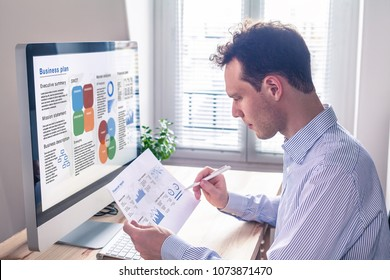 Businessman working on a business plan on computer screen in office with executive summary, mission statement, SWOT, market analysis, and financial report, consultant auditing in consulting company