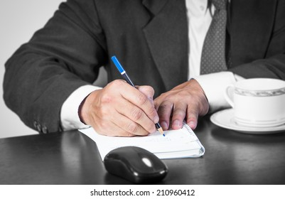 Businessman working on the desk