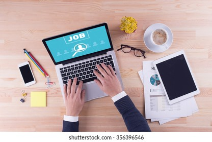 Businessman is working on desk - JOB