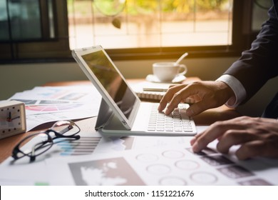 Businessman working on desk office business