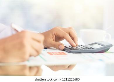 Businessman working on digital chart